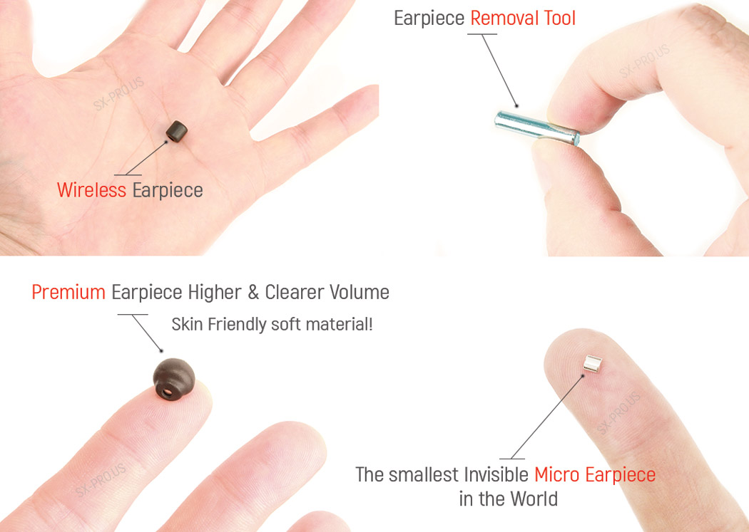 Premium Earpiece Higher & Clearer Volume, our Micro Earpiece is the Smallest in the World. Includes easy Earpiece Removal Tool for each Wireless Earpiece